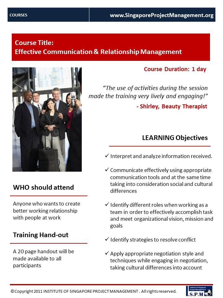 Effective Communication & Relationship Management - Course Outline