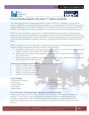 OPM3 Organizational Project Management Maturity Model Course Outline