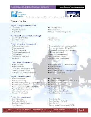 Project Management Professional PMP Course Outline Page1